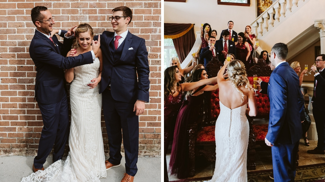Bride and groom cheers before wedding with party and pose with siblings looking awkward