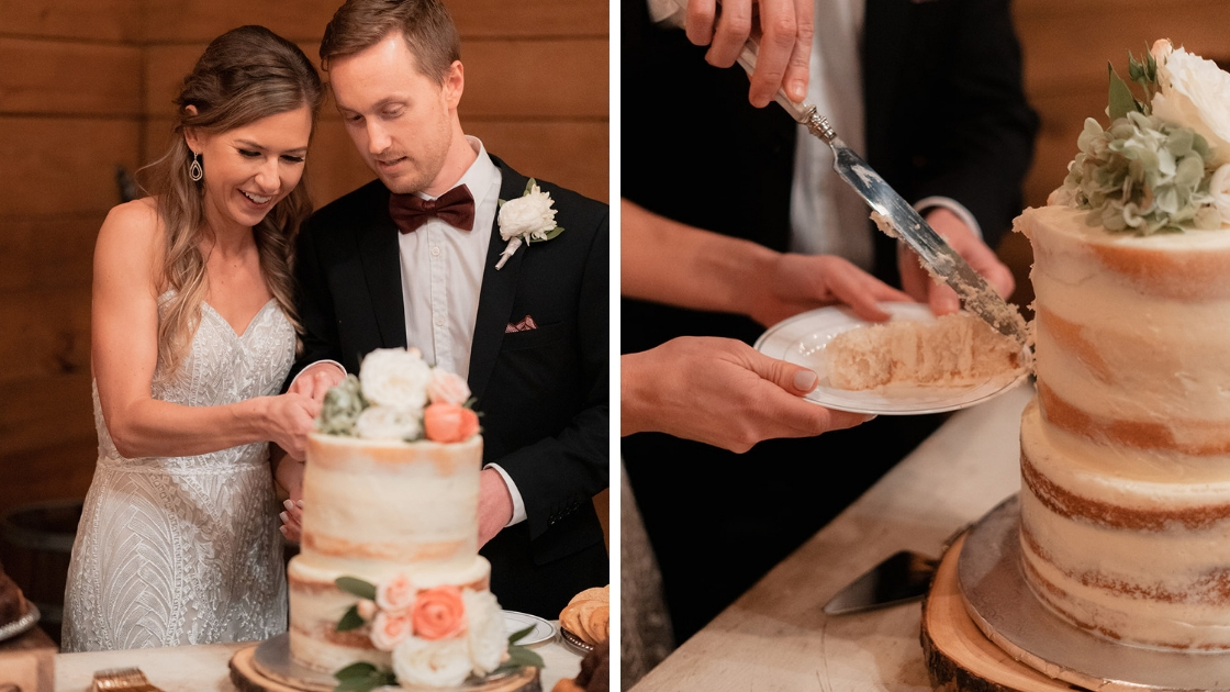 Bride and groom cutting wedding cake two pictures knife pretty succulents love friendship revelry wedding dress decklyn lace