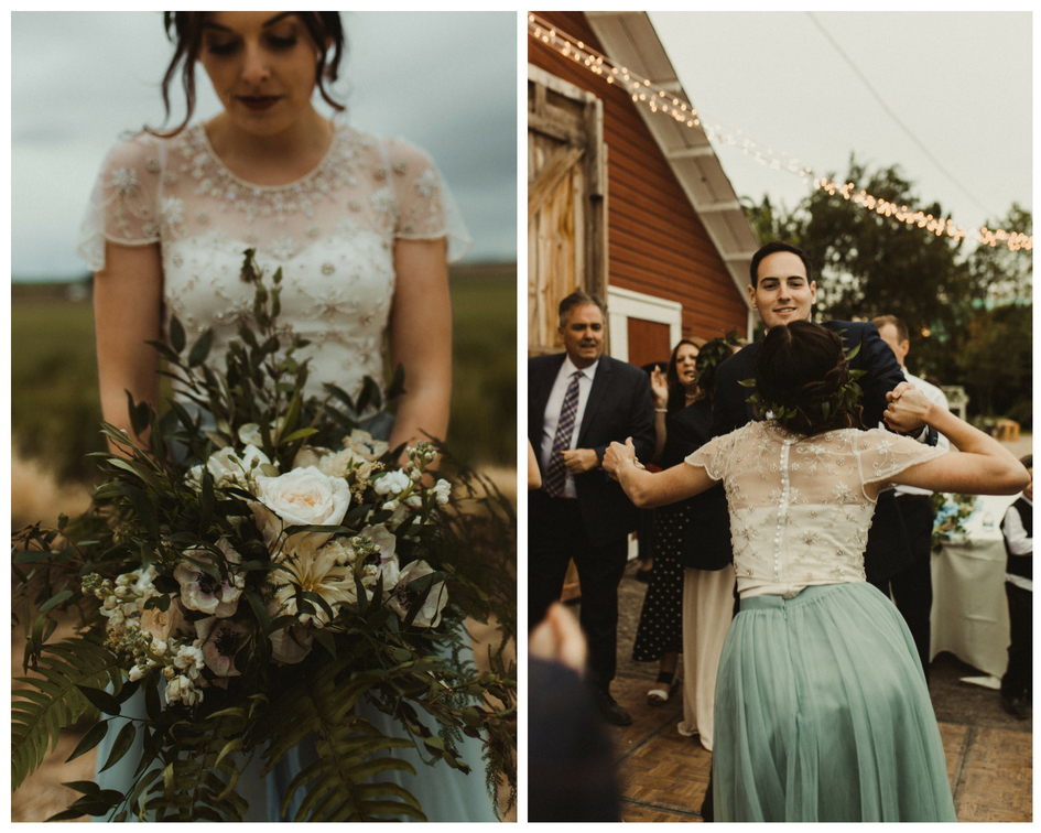Beautiful bride poses with bouquet on wedding day then dances with her groom