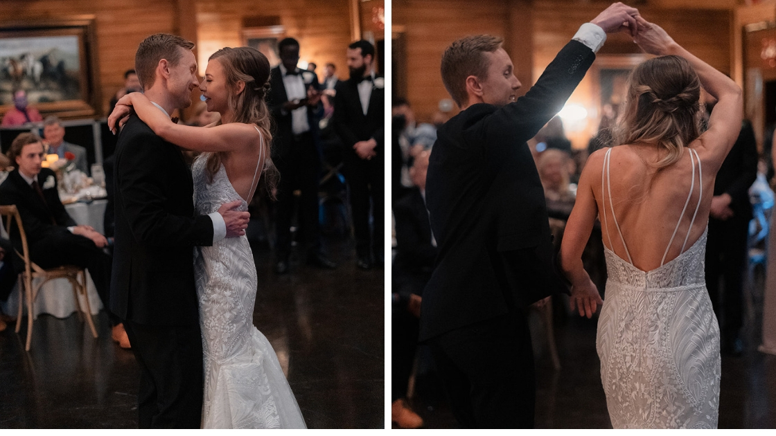 Bride and groom dancing on dance floor twirling and kissing love friendship two photos slow dancing relationship