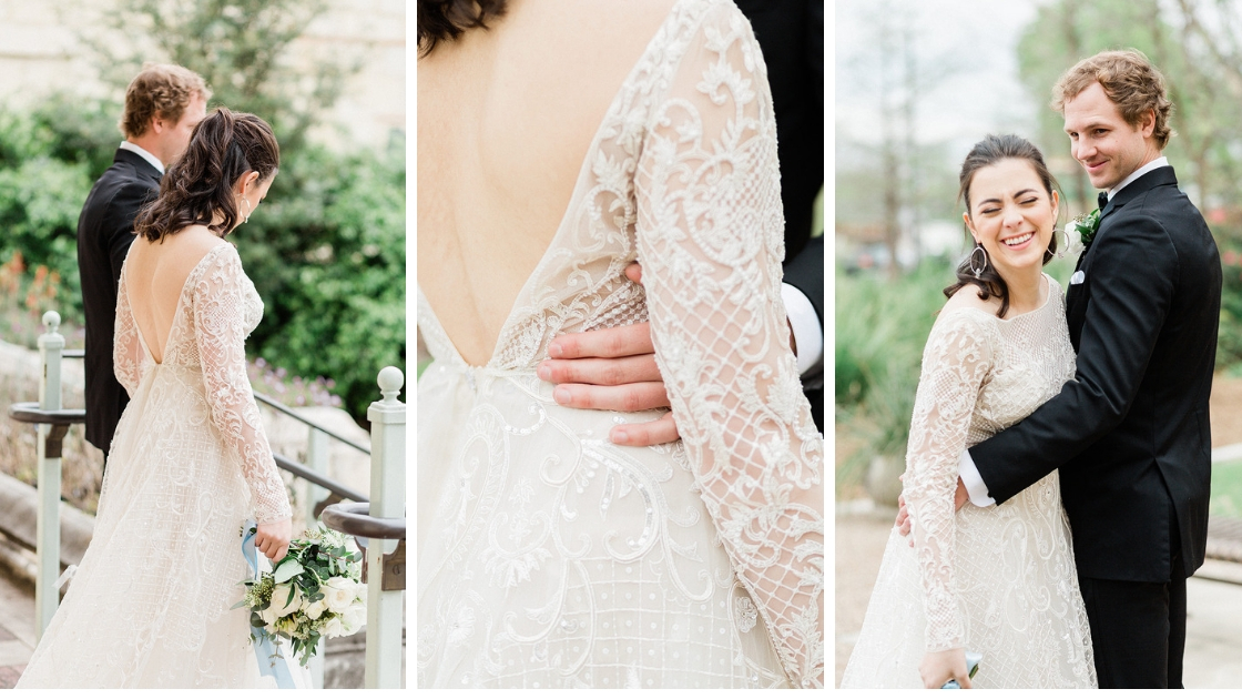 Bride and groom detail shots lace long sleeve wedding dress bridal gown holding white greenery bouquet blue ribbon bride and groom laughing and celebrating marriage