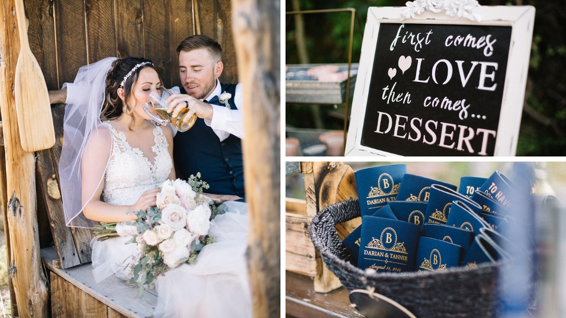 bride and groom drinking at wedding with custom coozies and dessert sign