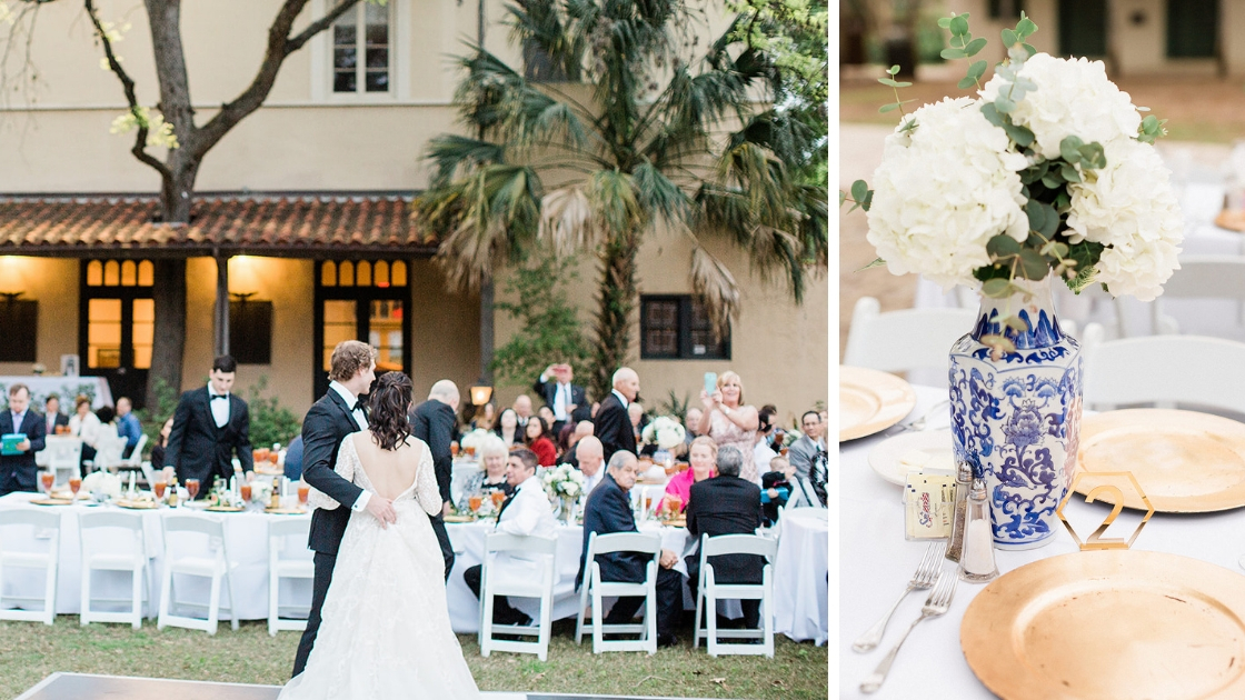 Bride and groom entering reception after museum wedding with wedding dress and outdoor seating gold plate runners blue and white vase with white flowers