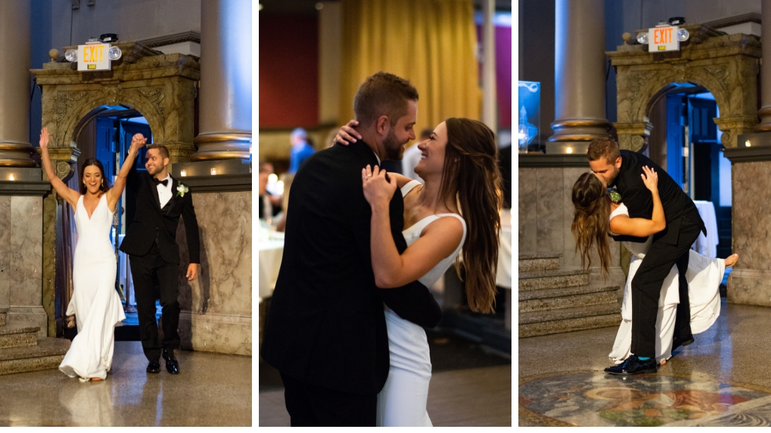 Bride and groom entrance to wedding reception celebration kiss dip pose love first dance