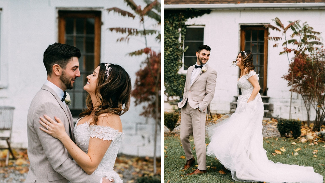Bride and groom first look kiss surprise wedding day white house leaves and foilage smile hug wedding day before marriage