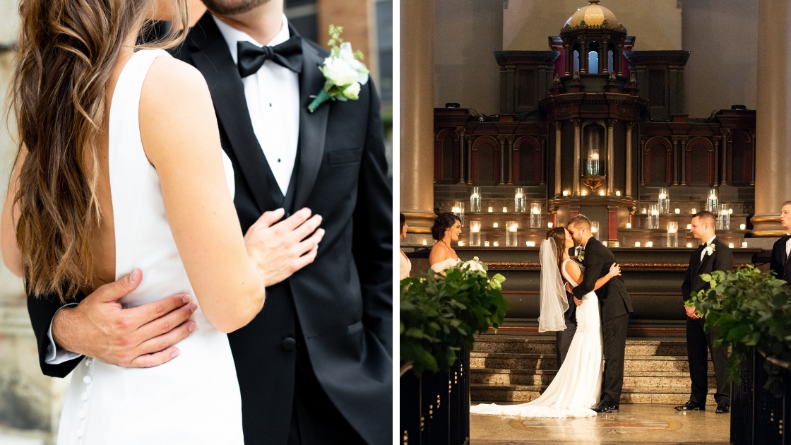 Bride and groom hugging on wedding day first kiss revelry bride candles in the background ornate wedding venue cathedrial