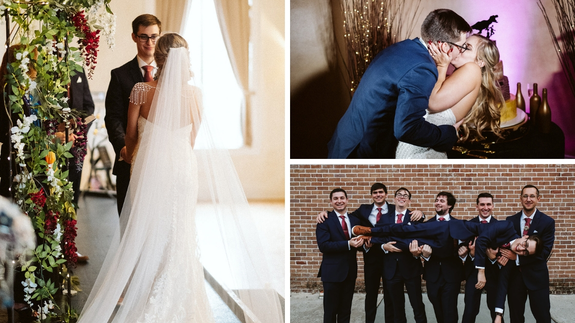 Bride and groom in catherdial veil get married at wedding kiss in front of wedding cake and groomsmen hold up groom and laugh together being silly