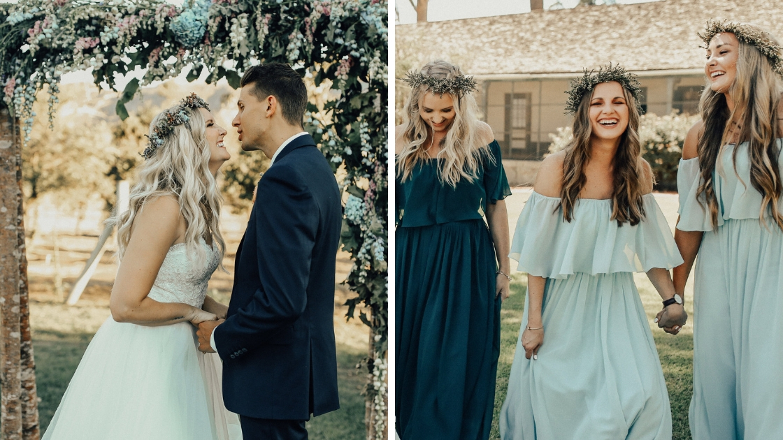 Bride and groom joke and laugh at alter and bridesmaids smile and hold hands as they walk into the wedding wearing blue chiffon dresses