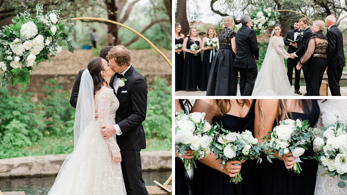 Bride and groom kiss husband and wife at ourdoor ceremony part circle alter black tulle dresses standing with parents at alter