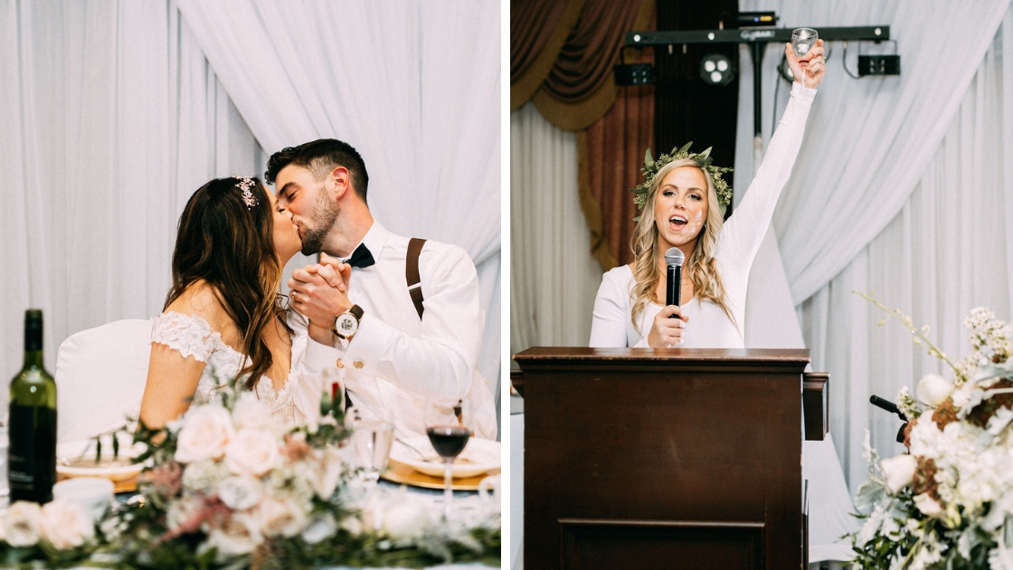 Bride and groom kissing at head table in fall october wedding in canada and bridesmaid or maid of honor with cake on face giving speech and cheersing
