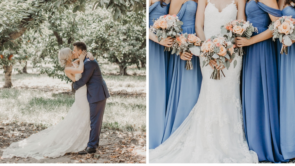 bride and groom kissing in the woods on their wedding day bridesmaids in blue revelry dresses hold pink and blush flowers