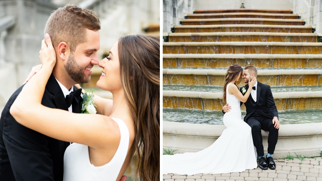 Bride and groom on wedding day black tub sitting on water fountain brunette bride in white dress kiss groom pose wedding