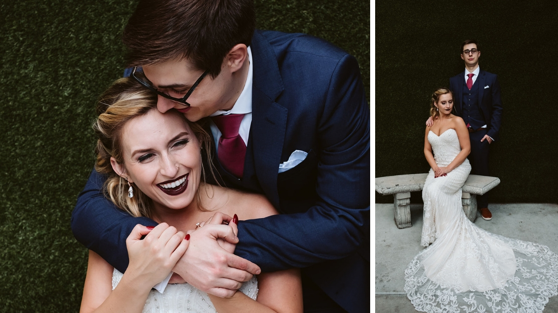 bride and groom posing and laughing with red nails and lips kendra scott earrings