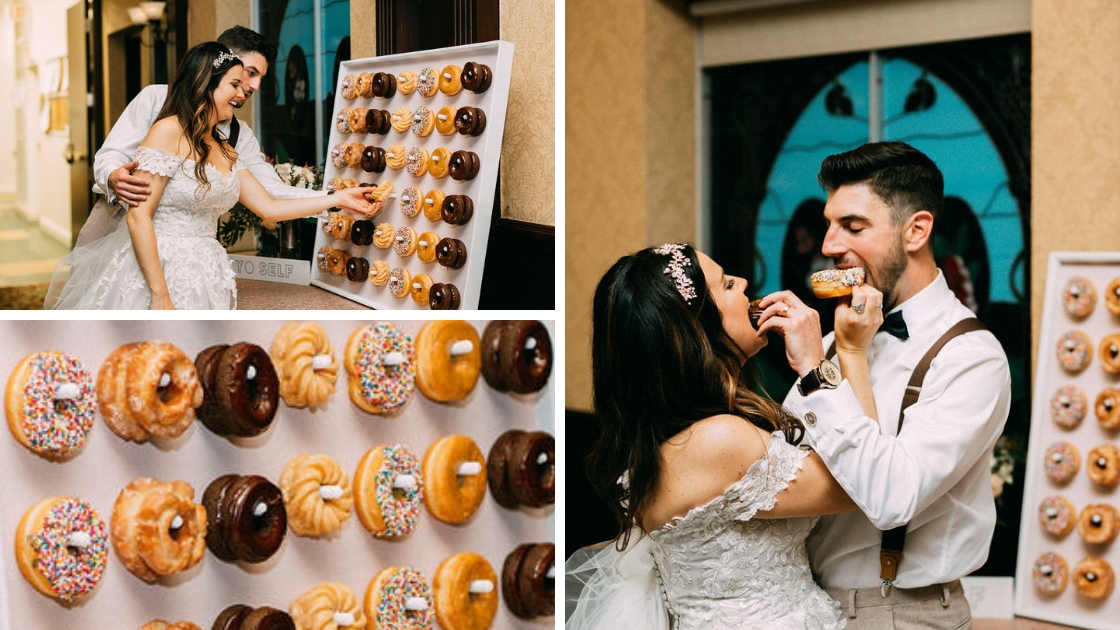 Bride and groom sharing donuts on doughnut wall feed each other love friendship wedding day sprinkles
