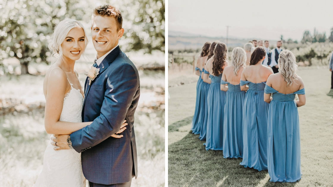 Bride and groom smile and pose on wedding day bridesmaids in blue chiffon off the shoulder dresses stand up at wedding