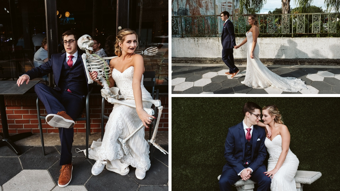 bride and groom smiling and posing with skelton on bench laughing and looking pretty