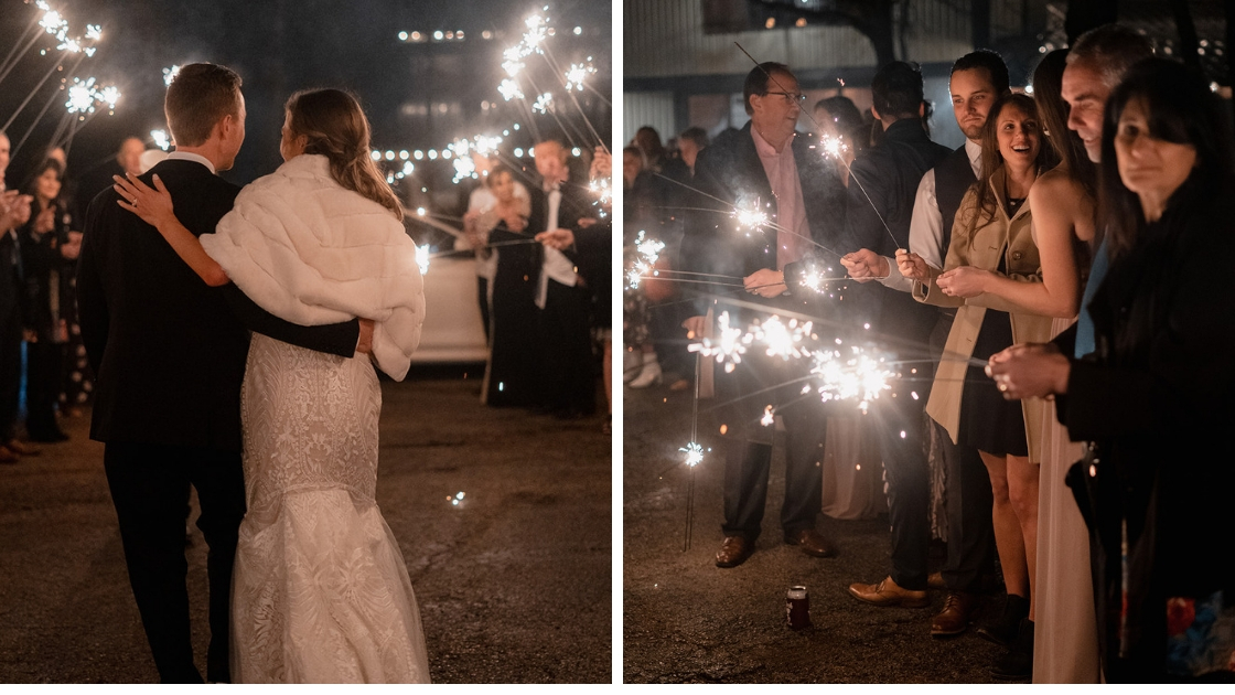 Bride and groom sparkler exit guests holding large fire sparklers art deco decklyn lace wedding dress white fur wrap