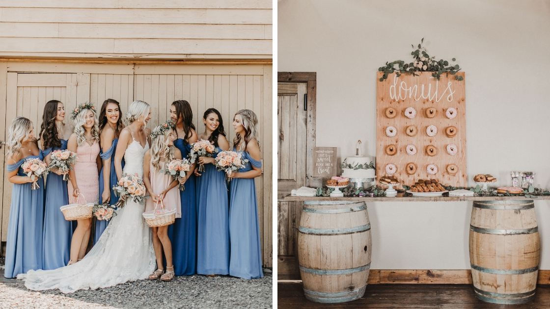 Bride bridesmaid and flower girls in white blue and pink smile and post in front of a wood pannel wall donut sweets table barrels rustic wedding