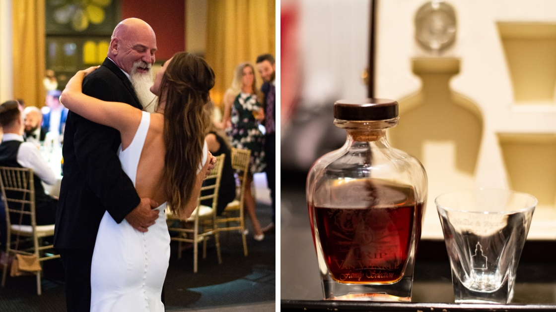 Bride dances with father at wedding friends and family watch bottle of scotch nice drink glass wedding day