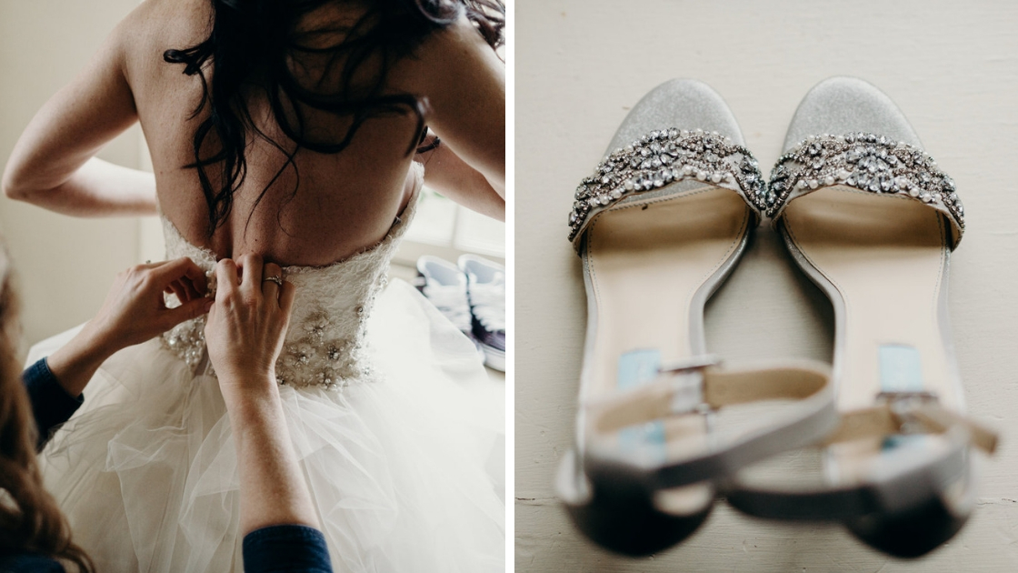 Bride getting into ballgown on wedding day silver jeweled shoes with blue label lgbtq wedding