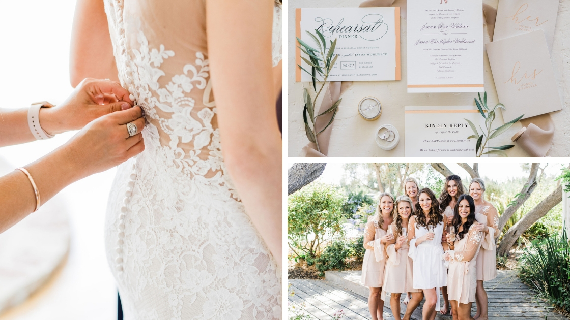 Bride getting ready on wedding day buttons back wedding dress bride and bridesmaids drinking champagne in robes invitations detail shots