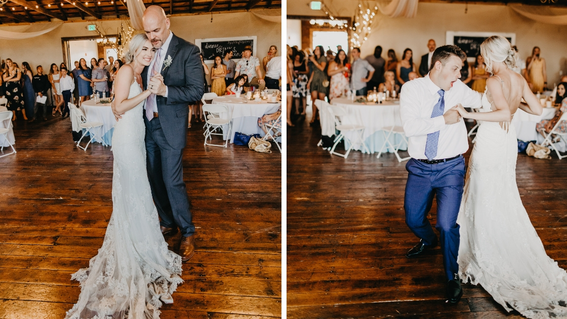 bride has her first dances on her wedding day smile and post with father and husband on wood dance floor