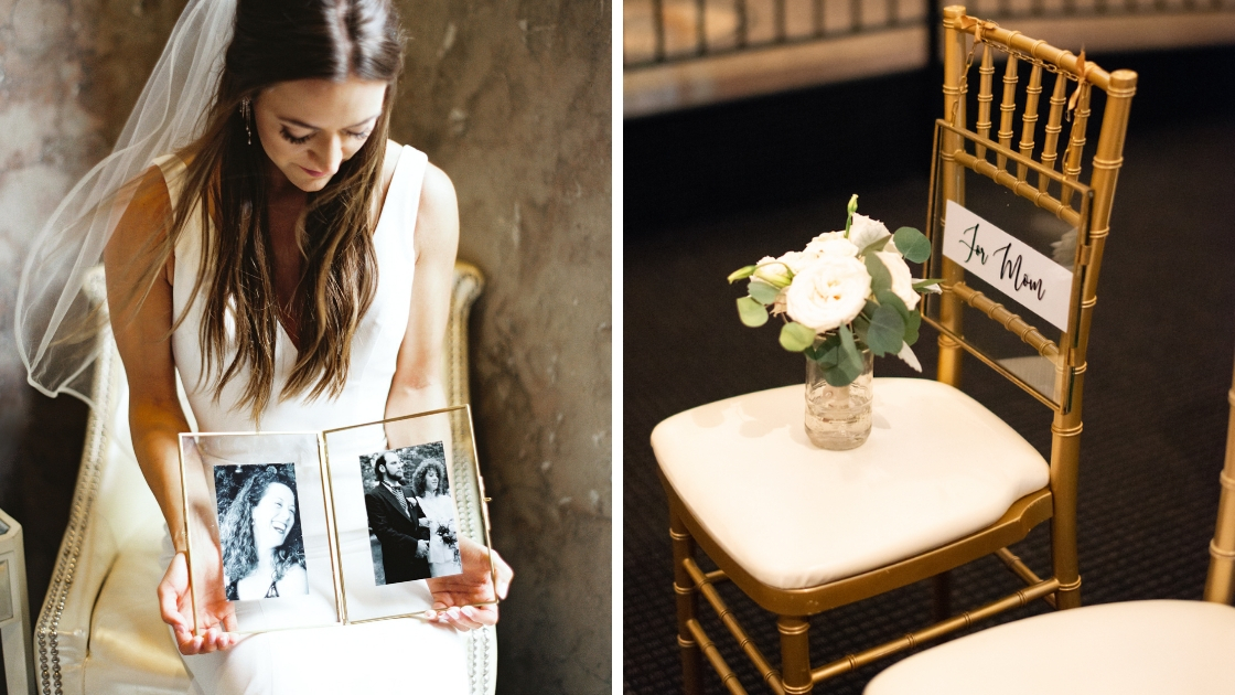 Bride holding photos of mother on wedding day seat reserved for her mom in memory of parents passed away
