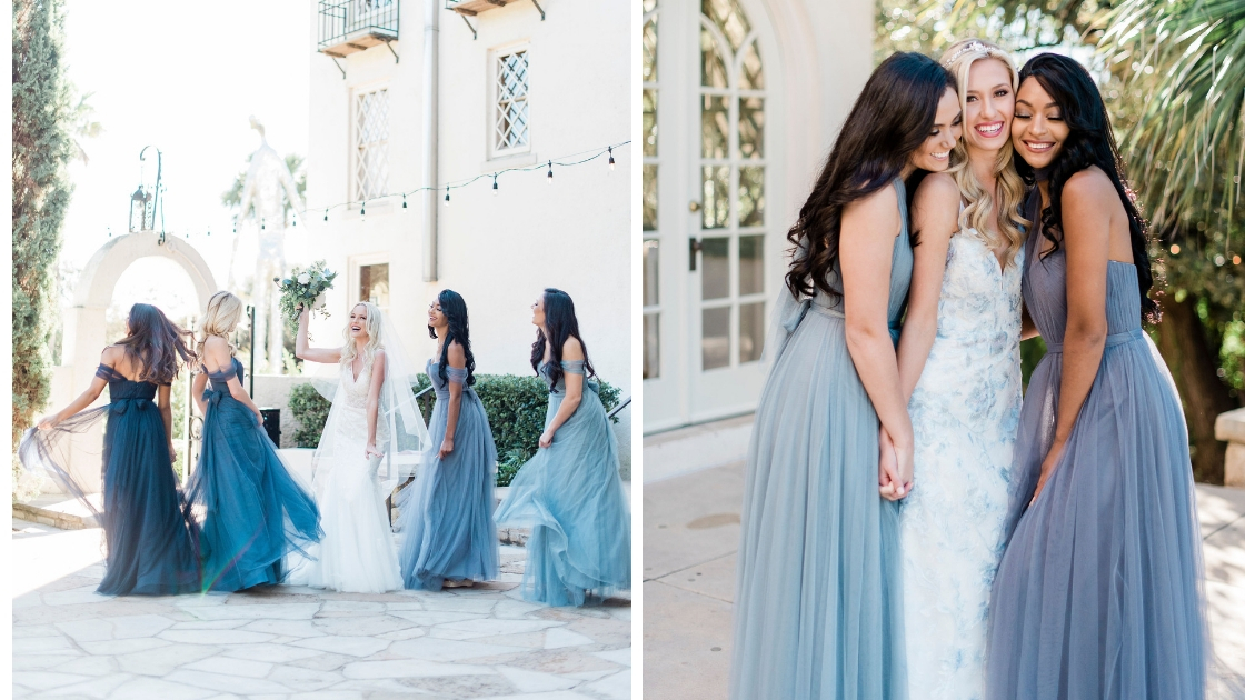 Bride in blue revelry wedding dress and bridesmaids in blue tulle rosalie dresses ombre best friends