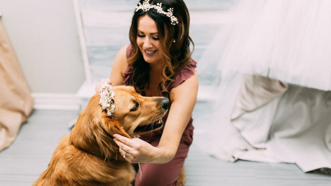 Bride in burgundy romper floral crown golder retriever with flower head piece on wedding day smiles and love
