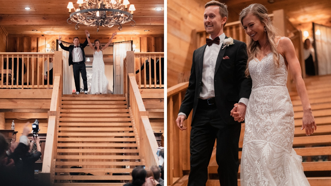 Bride in decklyn bridal wedding dress gown groom in black tux bow tie red burgundy wood venue reception entrance soft warm lighting