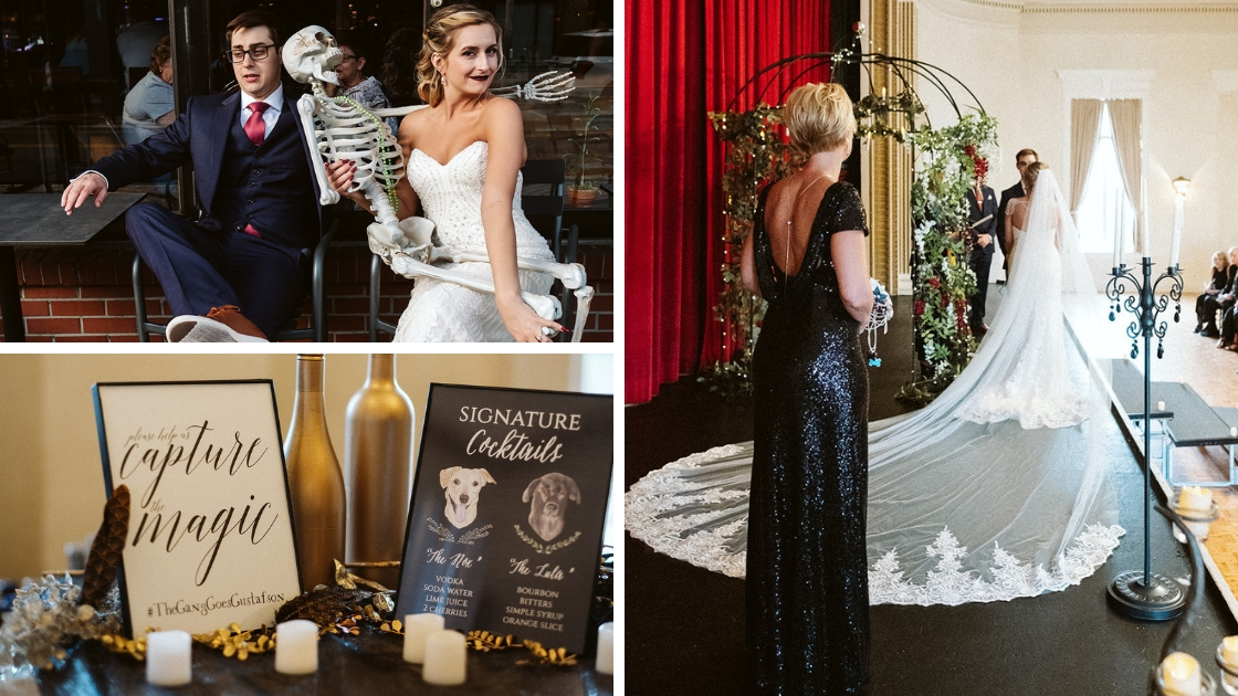 bride in gorgeous veil and art deco dress smiles with skelton at her halloween formal wedding autum fall revelry black dress