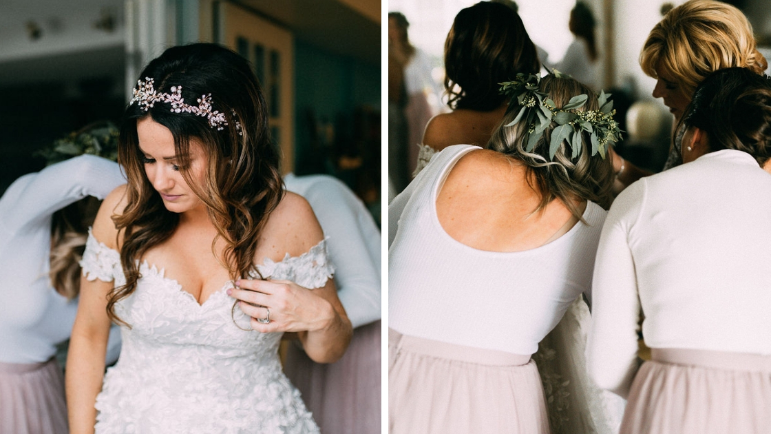 Bride in off the shoulder wedding dress crown bridesmaids in pink tulle skirts greenery flower crowns helping bride get ready