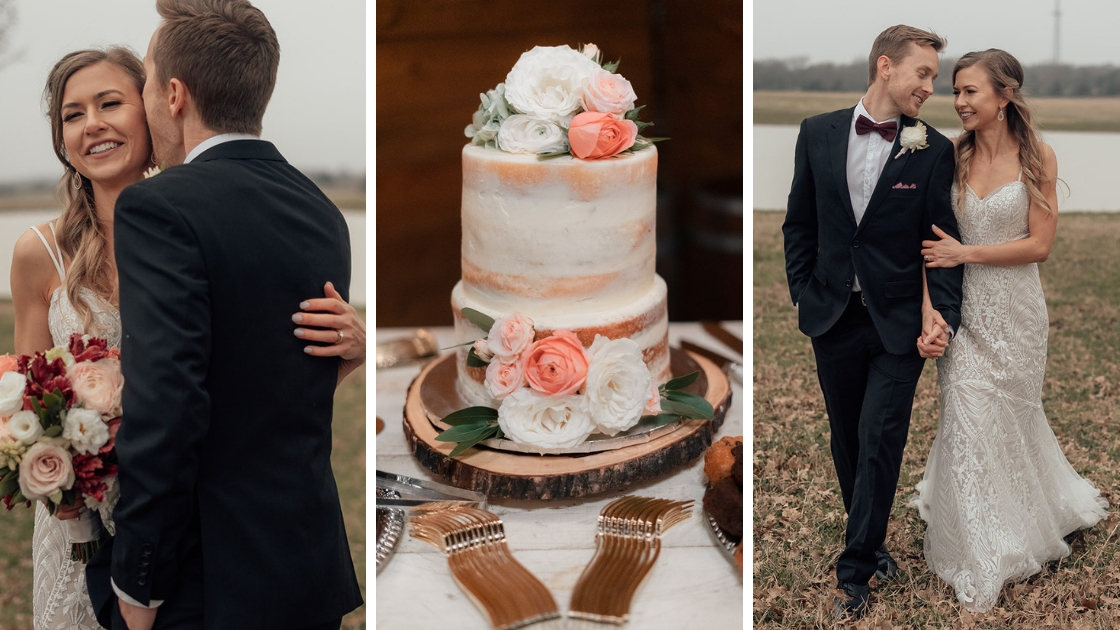 Bride in revelry decklyn bridal fown lace three photos walking with groom kissing each other cake on dessert table flowers naked cake flowers