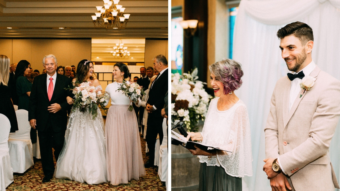 Bride in wedding dress walking down aisle with mother and father in pink revelry tulle skirt groom in grey suit smile and watches as bride walks down aisle smiling with officiant