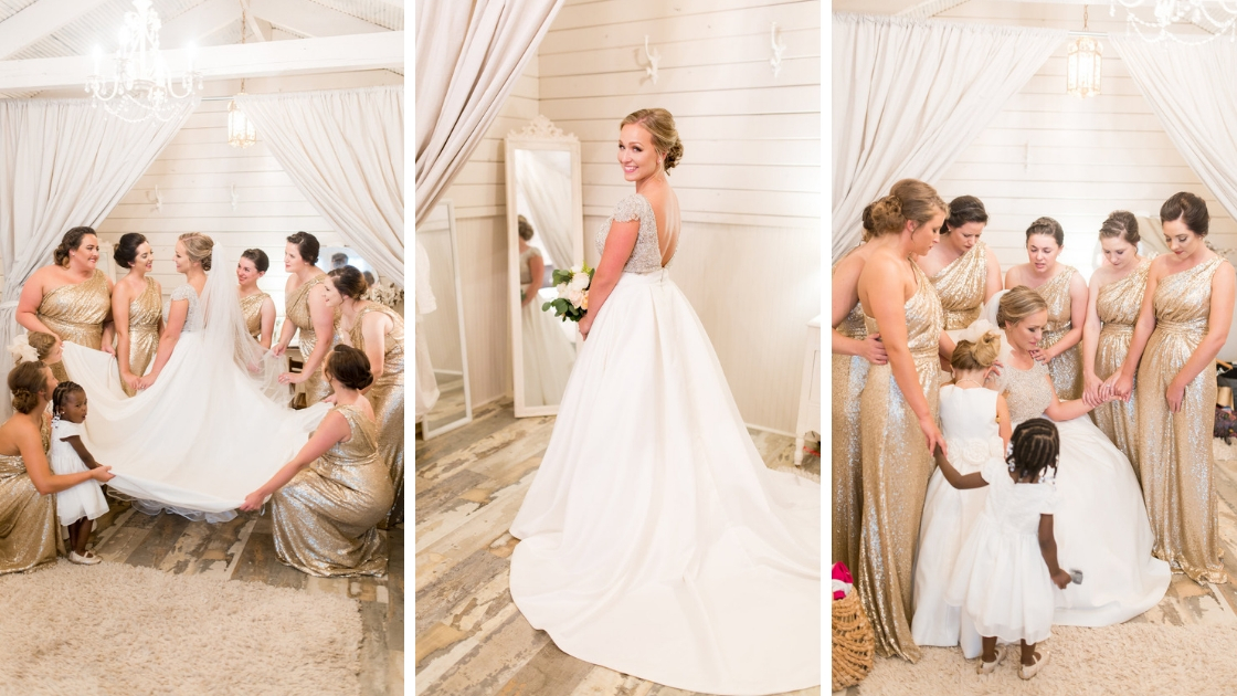 Bride poses and prays with her friends and family on her wedding day
