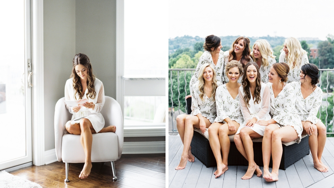 Bride in white see through robe reads card from groom on wedding day sits on porch with bridesmaids in fern pajamas 8 bridesmaids