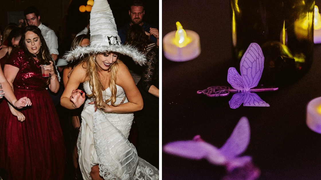 Bride in witch hat white dress flying harry potter keys with wings halloween wedding