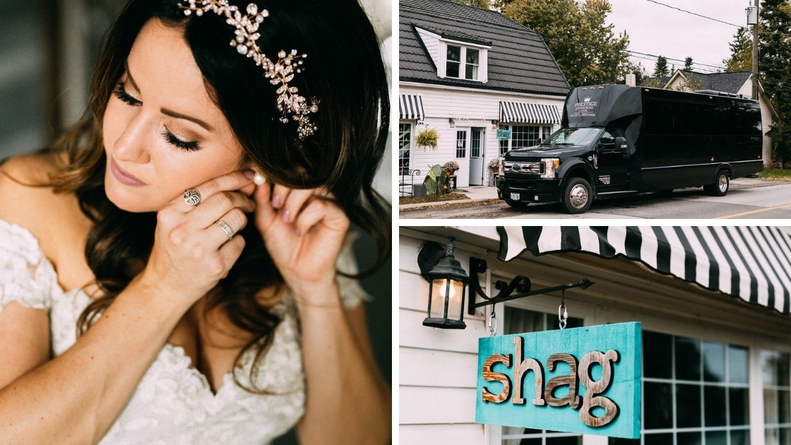 Bride putting on earrings on wedding day in bridal gown limo in front of getting ready location shag blue sign