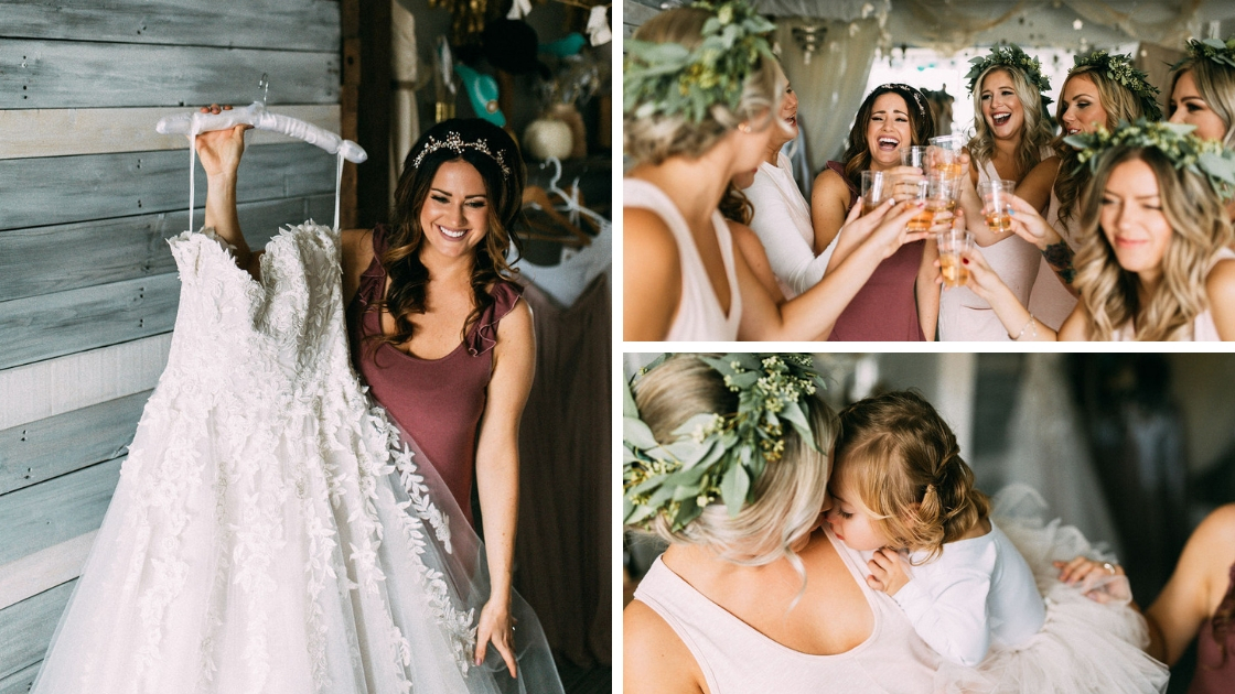 Bride putting on wedding dress cheersing with her bridesmaids mother hugging flower girl greenery headbands