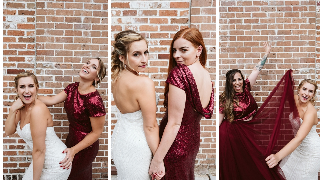 bride smiling and posing with bridesmaids in revelry sequin and tulle dresses and separates