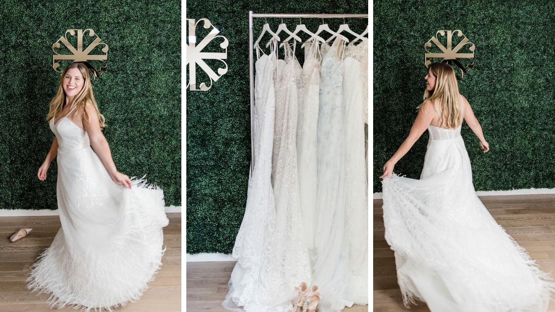Bride spinning and twirling in revelry wedding dress at try on party smiling and laughing