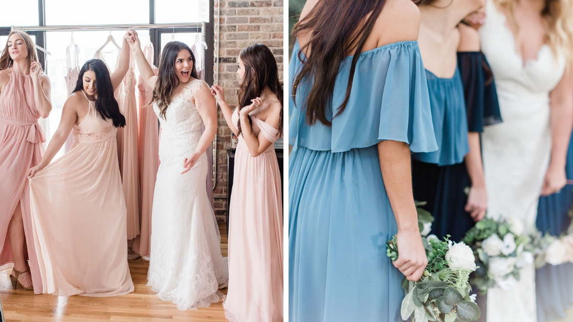 Bride try-on party chiffon blushes dancing pink white gown off the shoulder high neck blue ruffle chiffon dresses off the shoulder greenery bouquets