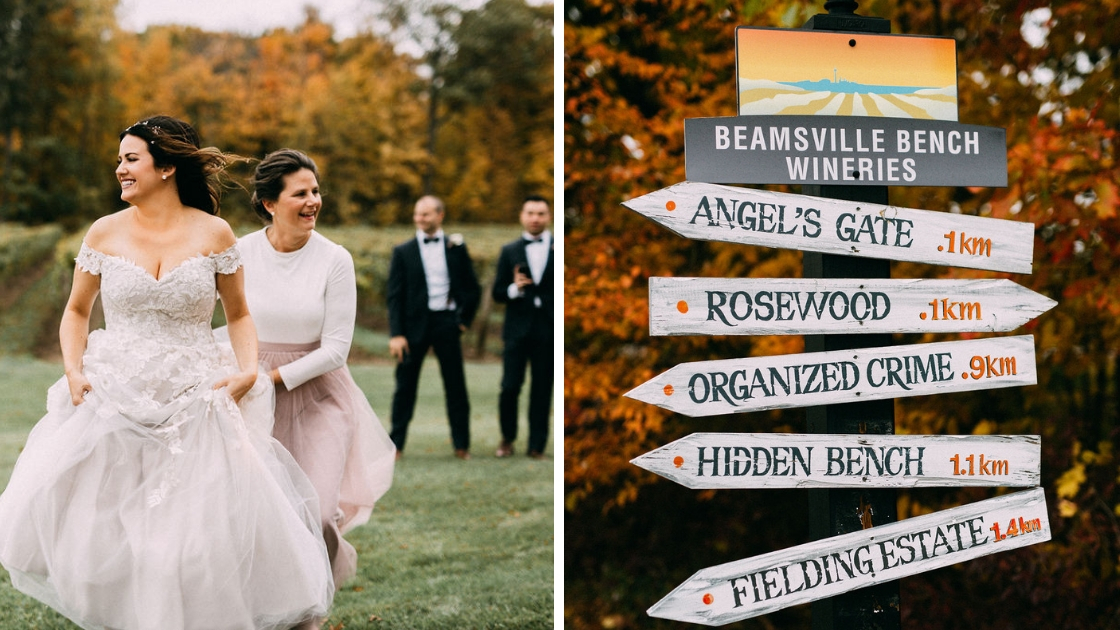 Bride wedding dress bridal gown mother in pink tulle skirt sign to places on venue pretty fall location october wedding