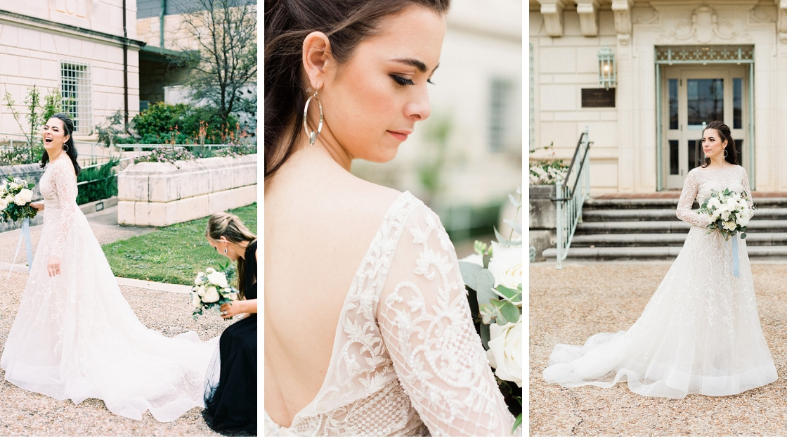 Bride with lace sleeves greenery and white roses blue ribbon bride and bridesmaid posing for photos three different pictures wedding day