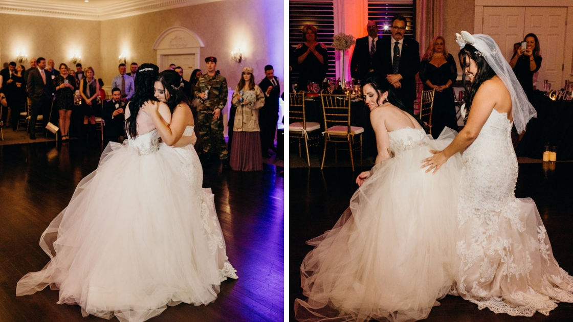 Brides dancing and hugging on wedding day and acting silly on dance floor celebrating their reception