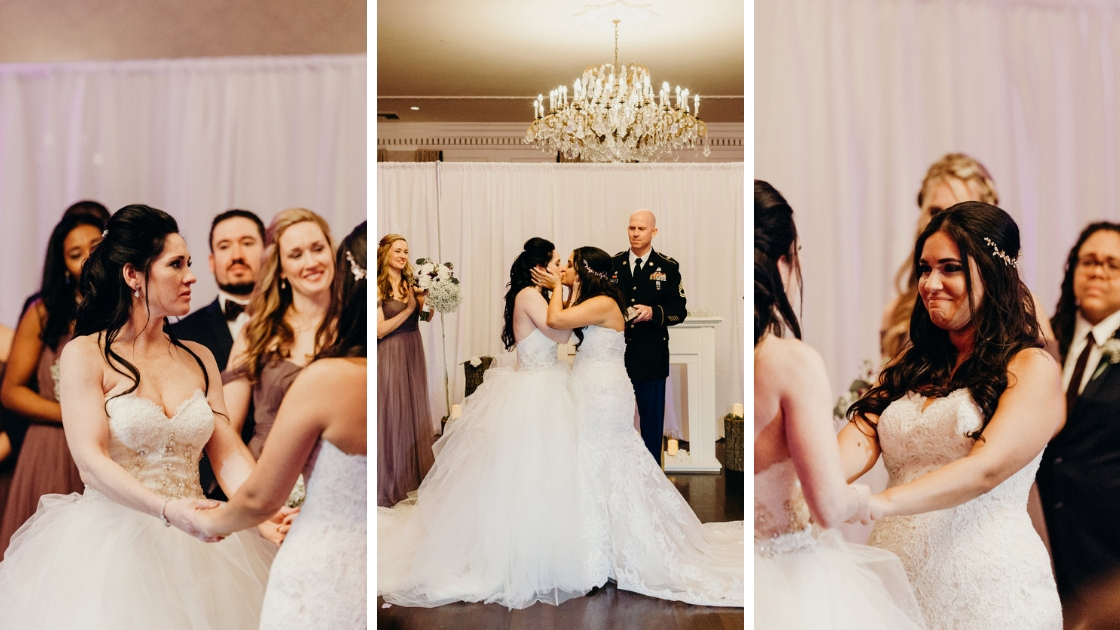 Brides holding hands on wedding day vowing to each other three different photos first hiss married as wives