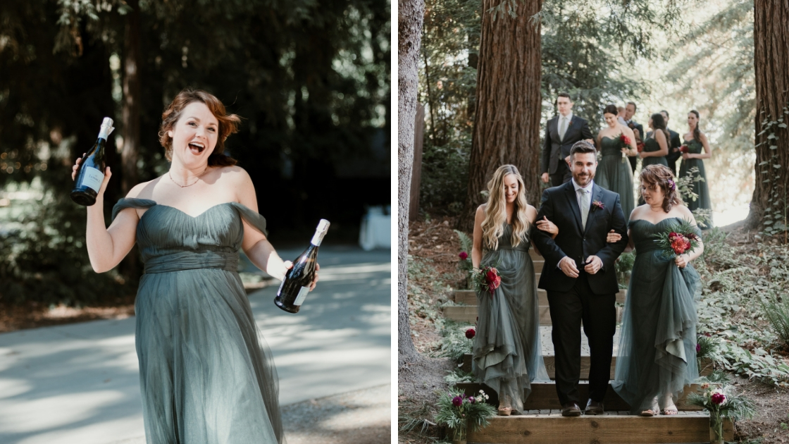 bridesmaid dancing and laughing holding champagne and wine at wedding entre ceremony and reception with friends