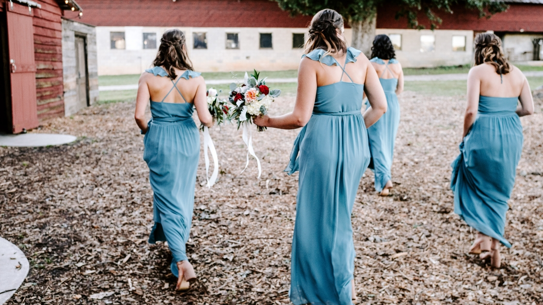 Bridesmaid dresses dusty blue chiffon wrap dresses spring trends