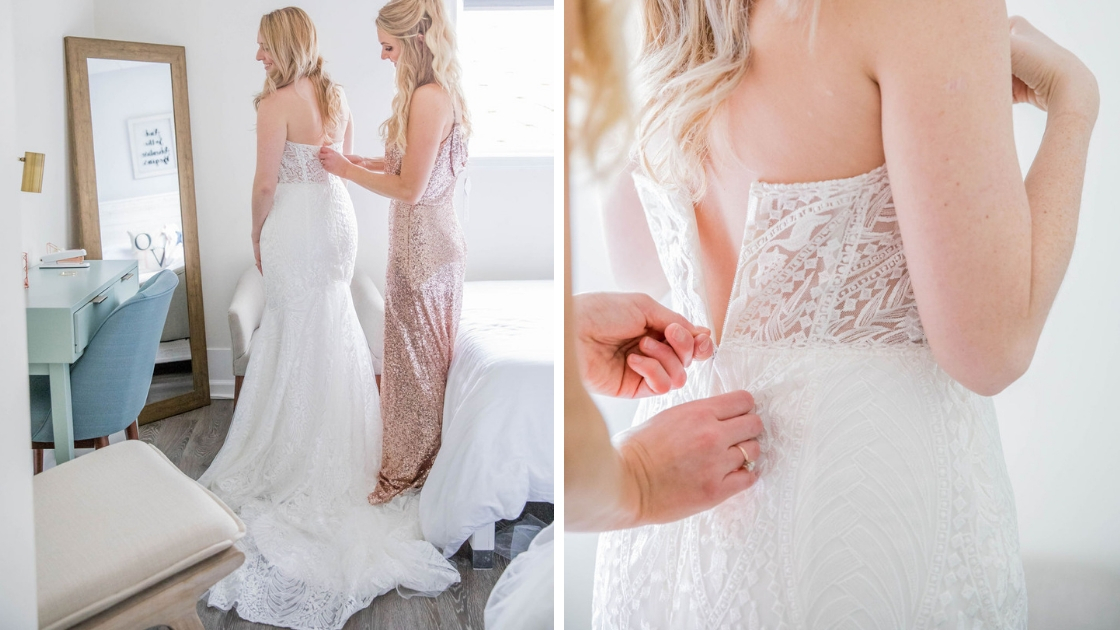 Bridesmaid in rose gold sequin dress hazel gown bride in decklyn bridal gown whisper white lace details zip up back corset style back zip