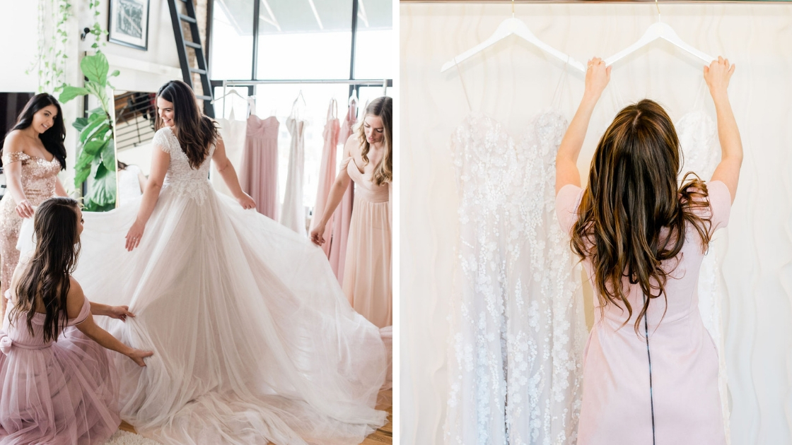 Bridesmaids and Bride in downtown austin loft wearing blush and pink tulle and chiffon bridesmaids dresses michelle founder in pink dress hanging up wedding dresses